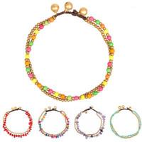 2020 Boho Pierre Femme Perlée Chaîne de perles de deux couches Bracelet cheville à la main Chaîne pied à lane Chaîne sur la jambe Enkelbandje1