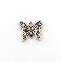 150 pezzi Charms a farfalla da 15x14mm adatta per fare pendenti antichi, colore argento tibetano vintage, gioielli fatti a mano fai da te
