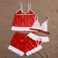 Bras Sets Mulheres Sexy Lace Christmas Lingerie Pijamas Sleepwear Senhoras Vermelho Fantasia Trajes Lady Sexo Underwear Exótico S-XL