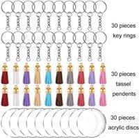 DIY leere Quaste Keychain Schlüsselanhänger Material 1Lot = 90 stücke = 30 stücke Schlüsselanhänger + 30 stücke Quaste Anhänger + 30 stücke Acryl Discs Weihnachten Geschenke NEU E112401