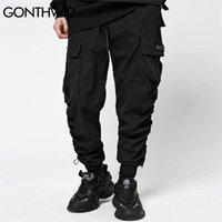 Poches Gonthwid Cargo Harem Joggers Pantalons Streetwear Mens Hip Hop Band Bande Filts Pantalons Casual Harajuku Fashion Pantalons 201109