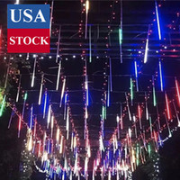 Météor douche pluie lumières de pluie 20 pouces 10 tube 480 LED à l'eau plug-à-la-nage en chute des fêtes de fées de pluie pour Halloween Noël, blanc cool