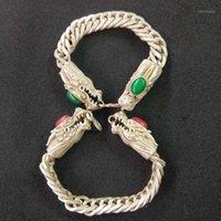 Bangle Очаровательный Античный Красный и Зеленый Рубиный Джейд Двойной Дракон Тибет Серебряный Браслет Бесплатный 0091