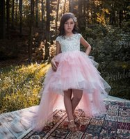 Cheap Lace Pink Flower Girls Dresses for Country Wedding 2017 Hi-Lo Bateau Cap Sleeves Beaded Ball Gown Tulle Kids Party Girls Pageant Dress
