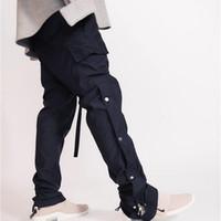 Siyah Sis Sokak Erkekler Yan Snap Kargo Pantolon Hip Hop Slim Fit Şeritli Kemer Parça Pantolon X1116
