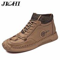Jichi Leder Herrenstiefel Mode Design Männer Schuhe Lace-Up Rutschfeste Luxus Männer Knöchelstiefel Schwarz Handgemachte Wasserdichte Große Größe 48 LJ201028