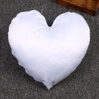100 قطعة / الوحدة شكل قلب التسامي الأبيض الساتان البوليستر وسادة حالة الزخرفية طباعة الحرارة الصحافة غطاء وسادة