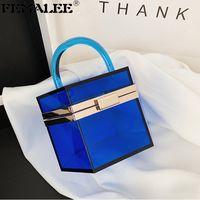 Boîte acrylique transparente élégante Sac à main Femmes de luxe Couleur solide Clear Clear Clear Sacs Sacs d'automne Lady Sac à rabat hexagonal Q1208