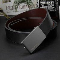 men's genuine leather belt male cowskin belt formal suit trousers belt cowhide smooth buckle metal starp gift for men belts 201117