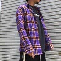 Roxo / verde / azul camisa xadrez homens mulheres streetwear elegante tartan solto manga longa camisas homens hip hop top roupas