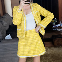 Мода желтая пледа 2 частей набор осень зимние женщины рука плетенные жемчуги твидовые пальто куртки + высокая талия шерстяная юбка костюмы 201027