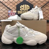 En Kaliteli Boost 500 Kanye Erkekler Bayan Koşu Ayakkabıları Çöl Sıçan Yumuşak Vizyon Kemik Beyaz Allık Batı Nefes Ourtdoor Platformu Spor Eğitmenler Sneakers ile Kutusu