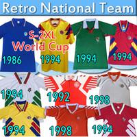 Retro Soccer Jerseys Italia 1986 Bolivia Romania Home 1994 Bulgaria Away Danimarca 92 98 Team Nazionale Camicie da calcio classiche vintage