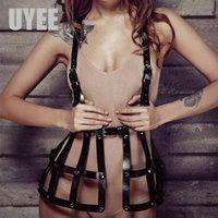 UYEE Gotik Kadınlar PU Deri Koşum Siyah Elbise Kemer Ayarlanabilir Punk Vücut Kölelik Kemer Kafes Etek Fetiş Derbudakiler LD-008 T200327