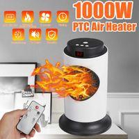 1000W Dispositif de chauffage électrique de ventilateur électrique avec contrôle à distance Efficacité énergétique 3 vitesses ajustable chronométrant maison chauffage
