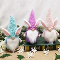 Conejito de Pascua Gnome rosa azul sin rosa muñeca de conejo Decoración del día de fiesta para la decoración del hogar de Pascua o para los niños del día de fiesta del día de fiesta