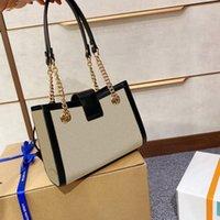 2020 مصمم حمل النساء حقائب الكتف قفل مع سلسلة قفل مربع قماش جلد طبيعي القوس المشارب الحقيقة الأزياء حقيبة