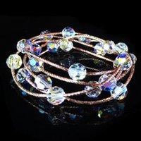Moda atmosfera pulseira de cristal para mulheres coreano moda multi círculo rosa pulseira de ouro para o dia dos namorados