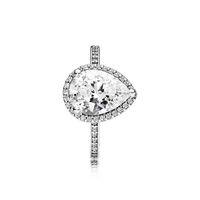 Real 925 Sterling Silver Silver Droping CZ Diamond Ring com logotipo e caixa original Fit Pandora Casamento Anel de Casamento Jóias Para As Mulheres