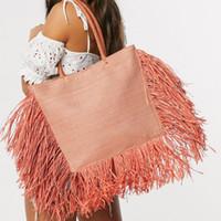 보헤미안 술 라피아 대용량 totes 디자이너 여성 짠 짚백 럭셔리 위커 레이디 어깨 가방 여름 해변 핸드백 J1202
