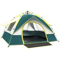 텐트와 피난처 2-4 사람 완전 자동 텐트 캠핑 여행 가족 방풍 방풍 차양 천막 해변 하이킹