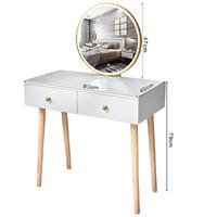 Dresser Таблица Современный стиль Dresser Таблица Set Макияж Комоды деревянные Ножки Мебель для спальни Туалетный столик Зеркало со стулом Set Тщеславие