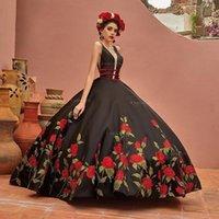 Новые Vestidos de 15 Años 2020 Бальное платье Quinceanera Платье для вышивки V-образным вышивкой Backless Sweet 16 платье Пухлая юбка