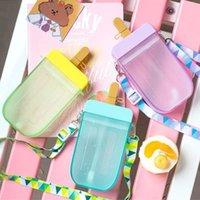 Nuevo verano creativo helado botellas de agua para niñas con paja linda taza de paletas con correa botellas de agua plásticas BPA gratis F1217