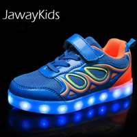 JawayKids USB зарядка светящихся Детей LED Sneakers Дети Мода светящейся обувь Мальчиков Девочка Складный Спорт Бег Свет шлепанцы Y1117
