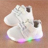 Атлетические наружные малыши мальчики девочек повседневная обувь младенца светодиодные белые дети мигающие кроссовки ребенка дышащий свет