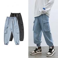 Mens Primavera Inverno Nuova marea Tide Tooling Jeans Pantaloni aderenti Belle retrò Trend coreano Pantaloni a gamba larga Jeans maschili