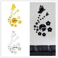 Kelebek Çıkarılabilir DIY Akrilik 3D Ayna Duvar Sticker Dekoratif Saat Modern Minimalist Kelebek Saat Dijital # 4J091