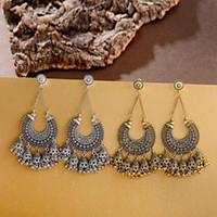 AICEI Antique Small Bells Jhumka Серьги Boho Этнические Геометрические Полые Серьги Tassel Серьги для Женщин Цыганые Украшения Подарки
