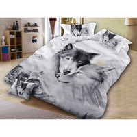Wolf Couple Biancheria da letto Set cool Grey Lovers Wolf Duvet Cover Set 3D Vivid Comforter Cover 3pcs Twin Full Queen King Y200417