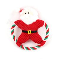 الحيوانات الأليفة أفخم مضغ لعبة الصوت الكلب الكرتون القطن حبل عيد الميلاد لعبة عيد الميلاد جرو مولير دمية دمية الحيوانات الأليفة هدايا عيد CYF4561-3