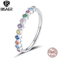 Anillos de racimo Bisaer Rainbow Anillo de dedo 925 Sterling Silver apilable CZ CZ para mujer Boda Joyería Fina Anel Regalo GXR697