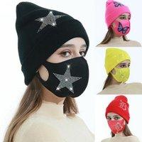 Mulheres malha chapéu de beanie e rosto máscara borboleta designers de diamante de doces inverno chapéu quente de gelo de seda de gelo máscara de chapéu de esqui set e112103