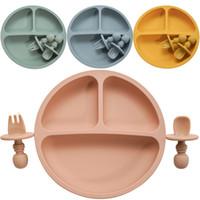 Модная твердая кремниевая пластина набор для детских детей, обучение, кормление посуды детское обучение тарелку с вилкой ложка BPA бесплатно J1203
