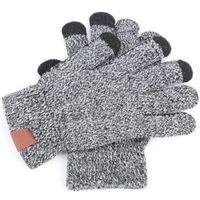 Guantes de punto Hombre mujer sólido invierno caliente guante portátil deportes al aire libre cinco dedos guantes de pantalla táctil para iPhone 12 11 Pro max