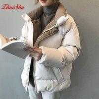 Damen Down Parkas Zhuishu Winterjacke Frauen Streetwear Polyester Reißverschluss Gerade Feste Farbe Baumwollmantel Warme Femme Schwarz Kleidung