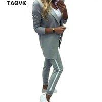Taovk Trajes para mujer Chaqueta de cuello de giro Blanco Pantalón a rayas Dos piezas Set Los trajes de pantalones Trajes de deporte de la mujer Ropa femenina 201119