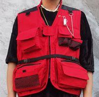 Giacche di cargo Giacche da uomo Multi Zipper Tasche Tactical Tactical Senza Maniche Cappotti da caccia Top Outwear Maschio