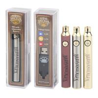 Pirinç Knuckles Preheat Pil 900 mAh Buharlı Kalem Ayarlanmış Gerilim Pil Fit 510 İplik Kartuşu Altın Ahşap Şerit 3 Renkler