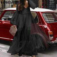 Rahat Gevşek Elbiseler Bayan Artı Boyutu Vonda Yağ Mm Büyük Yards Sundress Seksi V Yaka Fener Uzun Kollu Yüksek Bel Maxi Elbise 2020 Y0118
