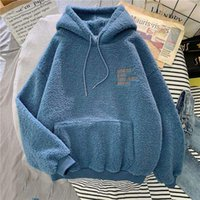 Women's Hoodies & Sweatshirts Women Oversized Long Sleeve Warm Imitation Lambs Wool Casual Loose Hooded Pullover Clothing Sweatshirt 2021#