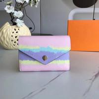 2020 Carteira de designer fresco com caixa de presente de verão escala de verão victorine wallet shibori tie tintura envelope estilo pequeno carteiras moda bolsa