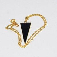 Collane ciondolo Gioielli di moda Geppotto in oro Natural Obsidian Triangle Catena collana Femme 2021 lungo fascino in pietra nera per le donne