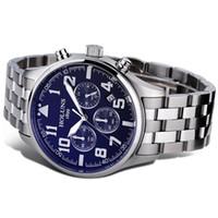 2021 Лучшие мужские часы бренда роскошные мужчины мода кварцевые часы синий циферблат серебряные стальные часы инструменты для сторожевых часов Relogio Masculino / SS BRW