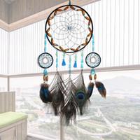 Mano tejida de ensueño Catcher con anillo circular Peacock Pluma de viento Chimes de viento Dreamcatcher Colgantes Colgantes Decoraciones Regalo de pared Detalle Decoración
