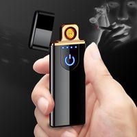 USB Şarj Edilebilir Elektronik Sigara Çakmaklar Alevsiz LED Dokunmatik Ekran Anahtarı Renkli Rüzgar Geçirmez 6 Renkler Hediye Kutusu